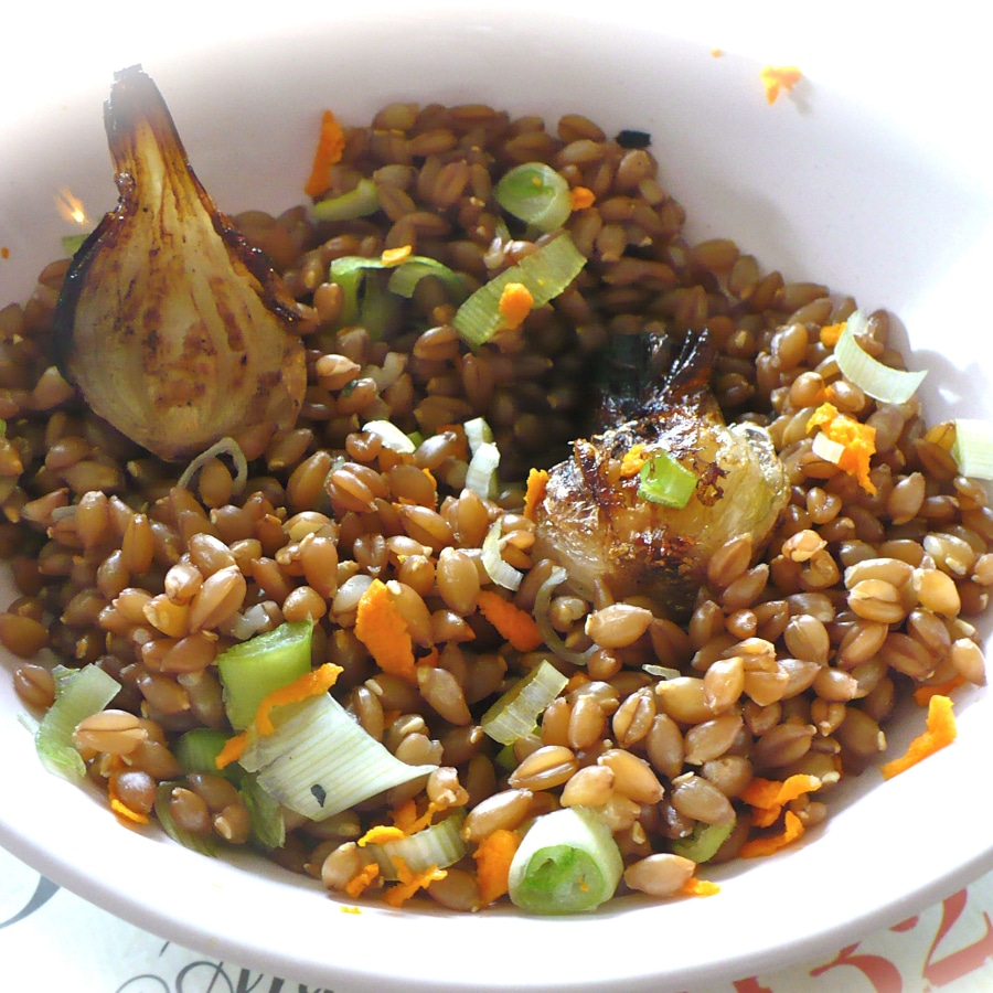 salade van enkoorn tarwe en groente