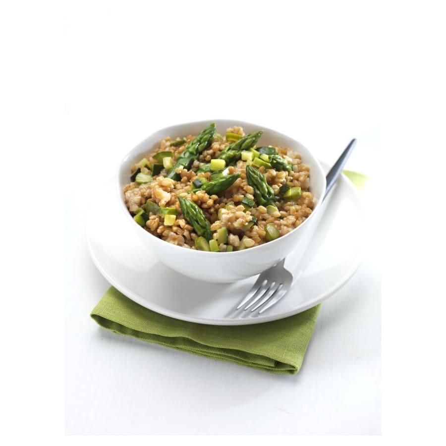 salade van enkoorn tarwe en asperges
