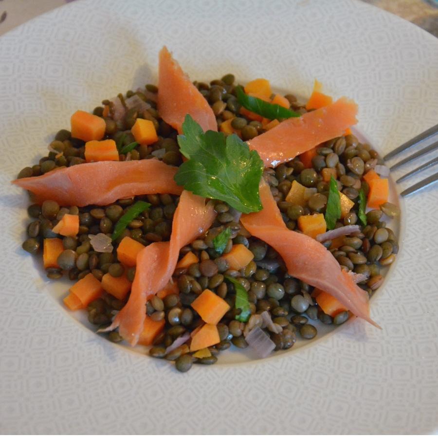 lentilles verts et saumon